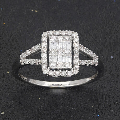 9K White Gold SGL Certified White Diamond (I3/G-H) Ring 0.50 Ct.