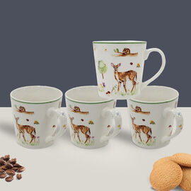 Lesser & Pavey Set of 4 - Woodland Wildlife Mugs in off White and Green (9X7 CM)