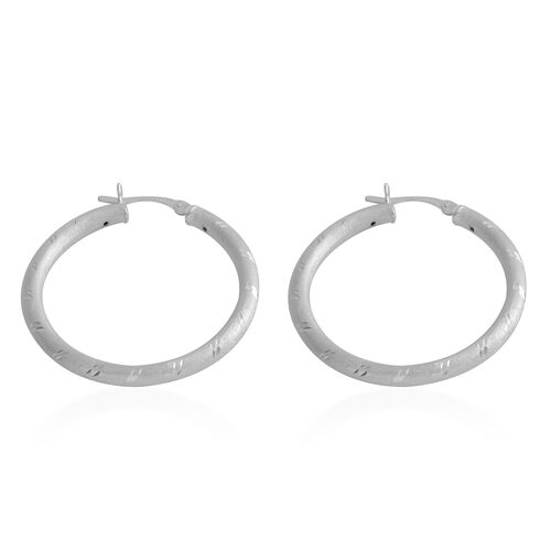 Italian Made - Sterling Silver Matt Finish and Diamond Cut Hoop Earrings (with Clasp Lock).Silver Wt 4.00 Gms