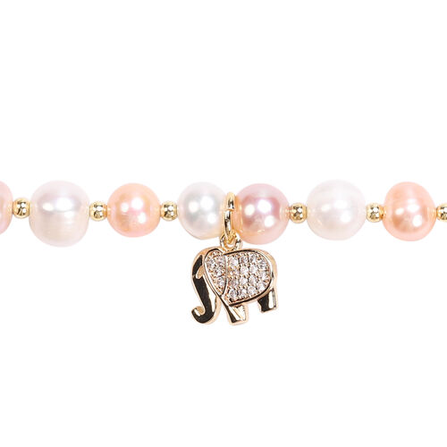 Multi Colour Freshwater Pearl and Simulated Diamond Elephant Charm Bracelet (Size 7.5 with 1.5 inch Extender) in Yellow Gold Tone