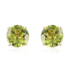2.75 Ct AA Hebei Peridot Stud Solitaire Earrings in 9K Yellow Gold