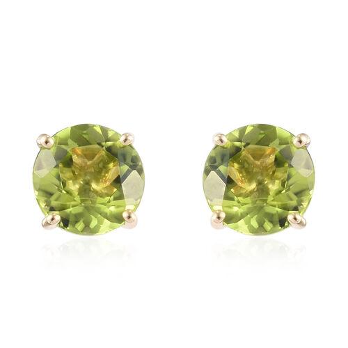 2.75 Ct AA Hebei Peridot Stud Solitaire Earrings in 9K Yellow Gold
