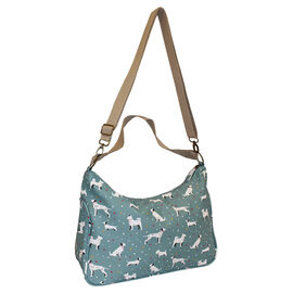 Nicole Brown Doggy Pattern Shoulder Bag with 120cm Adjustable Strap in Teal (Size 25x35x12 cm)