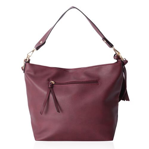 Close Out Deal - Slouchy Style Burgundy Colour Checker Pattern Tote Bag with Tassel and Removable Shoulder Strap (Size 37X12.5X28 CM)