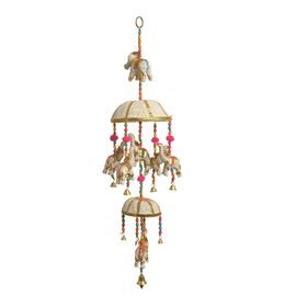 Home Decor - 2 Tier Beaded Strings with Bamboo Basket and Elephant Motif and Bells Hanging - Beige