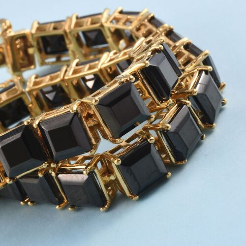 Elite Shungite Bracelet (Size 7.5) in 14K Gold Overlay Sterling Silver 18.00 Ct, Silver wt 14.00 Gms