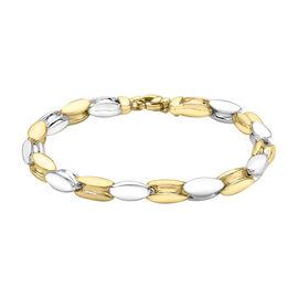 Italian Made-9K Yellow/White Gold  Bracelet (Size - 8),  Gold Wt. 14 Gms
