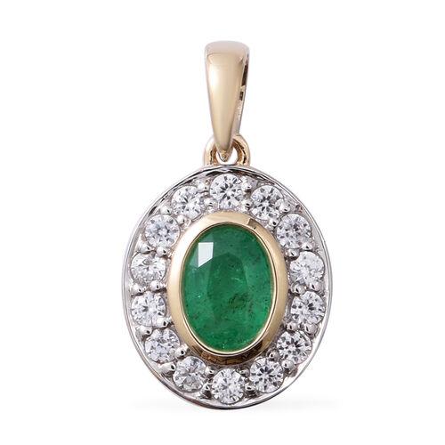 9K Y Gold AAA Kagem Zambian Emerald (Ovl 7x5mm ), Natural Cambodian White Zircon Pendant 1.480 Ct.