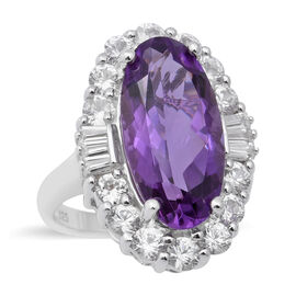 Lusaka Amethyst and Natural Cambodian Zircon Halo Ring in Rhodium Overlay Sterling Silver 8.71 Ct.