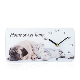 Glass Table Clock - Dog (Size 30x15x4 Cm)
