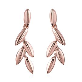 Rose Gold Overlay Sterling Silver Leaf Earrings (with Push Back)