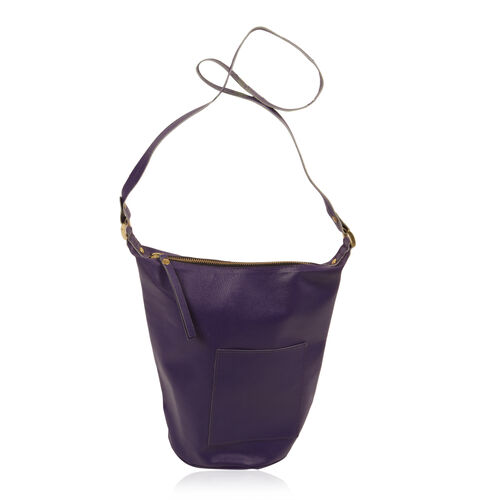 Anya 100% Genuine Leather Deep Purple Crossbody Bag with Shoulder Strap (Size 28x25.5x16.5 Cm)