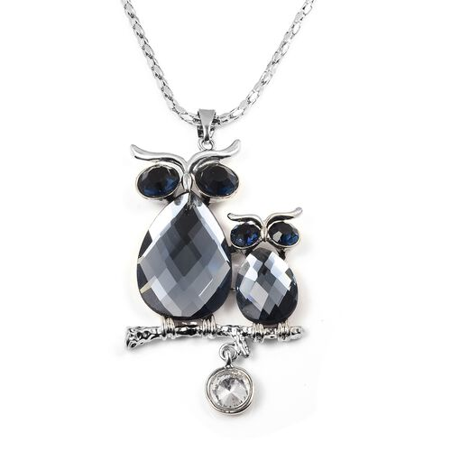 Blue and White Austrian Crystal, Simulated Grey Moonstone Mother and Baby Pendant with Chain (Size 30 with 2 inch Extender) in Silver Plated