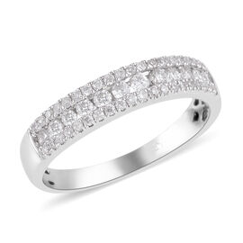 New York Close Out- 14K White Gold Diamond (Rnd) (I2 / G-H) Ring 0.504 Ct.
