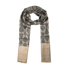 Limited Available - 100% Cashmere Wool Geometric Pattern Scarf (Size 70x200 Cm) - Grey