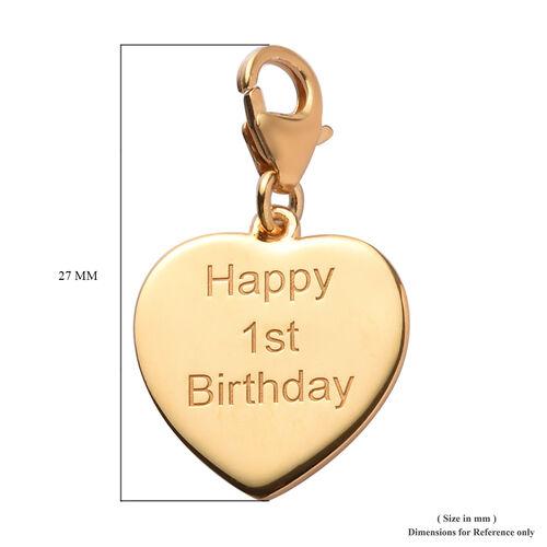 14K Gold Overlay Sterling Silver Happy 1st Birthday Charm