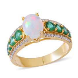 9K Yellow Gold AA Ethiopian Welo Opal (Ovl 1.35 Ct), Premium Santa Terezinha Emerald and Natural White Cambodian Zircon Ring 3.000 Ct.