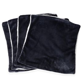 Autumn/Winter Collection - Set of 4 - Navy Colour Supersoft Reversible Flannel Sherpa Cushion Covers (45x45 cm)