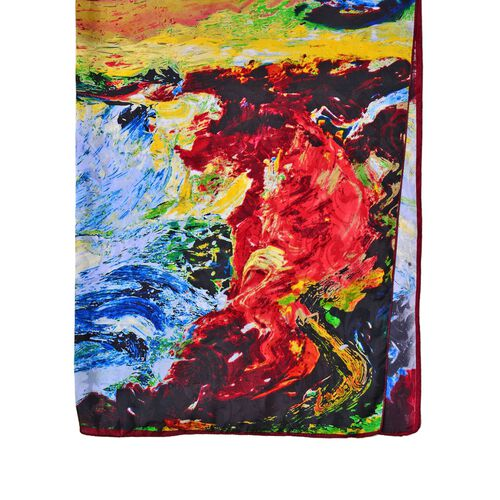 One Time Deal-Designer Inspired 100% Mulberry Silk Blue, Red and Multi Colour Change the Sky Pattern Scarf (Size 88x85 Cm)