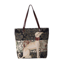 Lovely Dog Pattern Large Tote Bag (Size 35x11x39 Cm) - Beige and Black