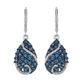 GP Blue Diamond (Rnd), Kanchanaburi Blue Sapphire Tear Drop Lever Back Earrings in Platinum Overlay Sterling Silver 0.370 Ct, Silver wt 5.34 Gms.