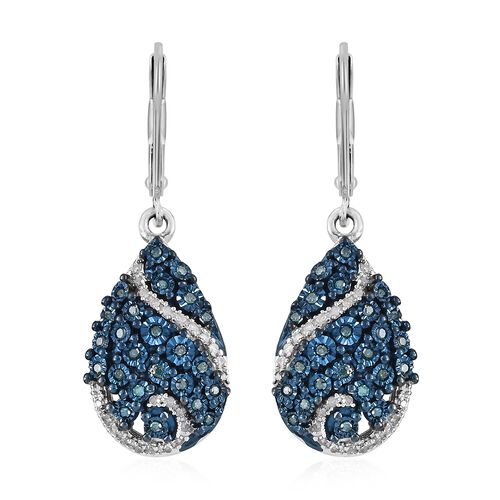 GP Blue Diamond (Rnd), Kanchanaburi Blue Sapphire Tear Drop Lever Back Earrings in Platinum Overlay Sterling Silver 0.370 Ct, Silver wt 5.34 Gms.