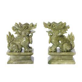 Set of 2 - Handcrafted Serpentine Decorative Pixiu Figurine (Size 7.5X4X11.5 Cm) - Green