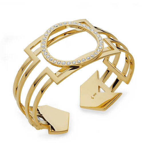 LucyQ White Austrian Crystal Studded Art Deco Bangle (Size 7.5) in 14K Gold Overlay Sterling Silver 57.80 Gms.