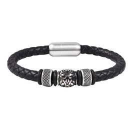 Genuine Braided Leather Black Oxidised Bracelet (Size 7.5) in Dual Tone