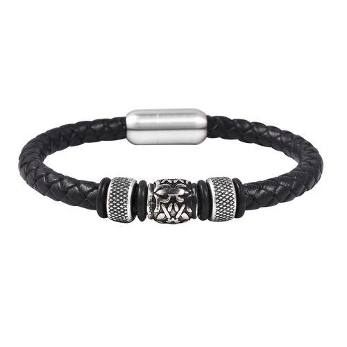 Genuine Braided Leather Black Oxidised Bracelet (Size 7.5) in Dual Tone
