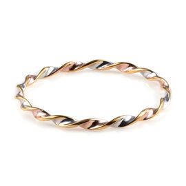 Platinum, Yellow and Rose Gold Overlay Sterling Silver Twisted Bangle (Size 7), Silver wt 12.00 Gms