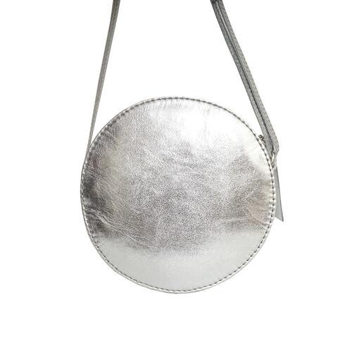 Assots London DISC Metallic Genuine Leather Round Mini Crossbody Bag - Silver