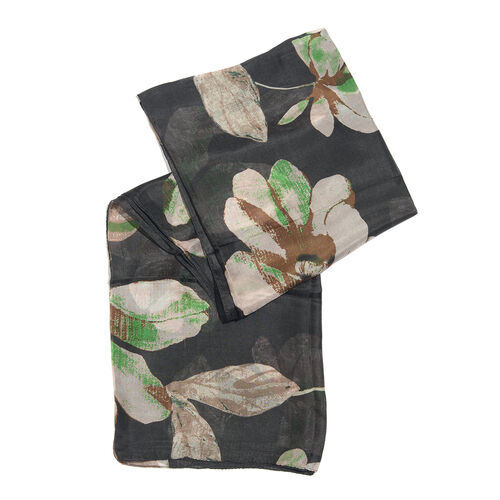 100% Mulberry Silk Black, Brown and Multi Colour Printed Scarf (Size 180x100 Cm)