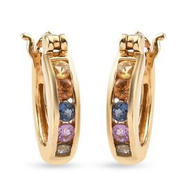 Multi gemstones Earring in 14K Gold Overlay Sterling Silver 0.50 ct  0.500  Ct.