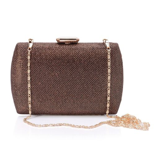 Champagne Colour Glitter Clutch Bag with Removable Chain Strap (Size 18x12 Cm)