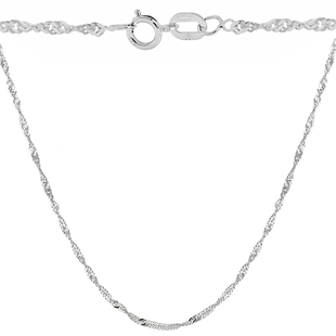 Sterling Silver Twisted Curb Chain (Size 18) with Spring Ring Clasp