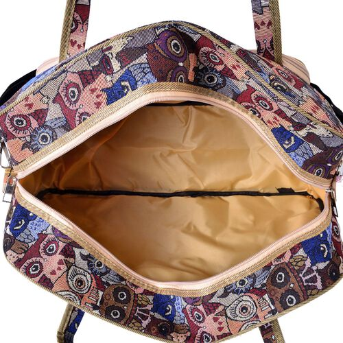 Brown and Multi Colour Owl Light Weight Weekend Bag with an External Zipper Pocket and Removable Shoulder Strap (Size 50x33 Cm)