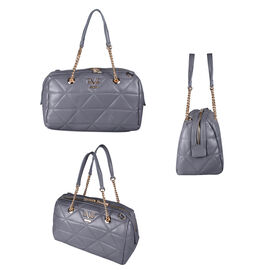19V69 ITALIA by Alessandro Versace Quilted Pattern Crossbody Bag with Detachable Strap (Size 27x10x18cm) - Dark Beige