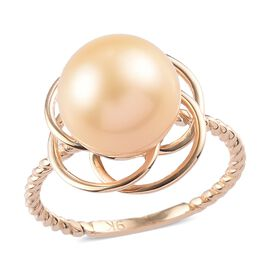 9K Yellow Gold South Sea Golden Pearl Solitaire Ring