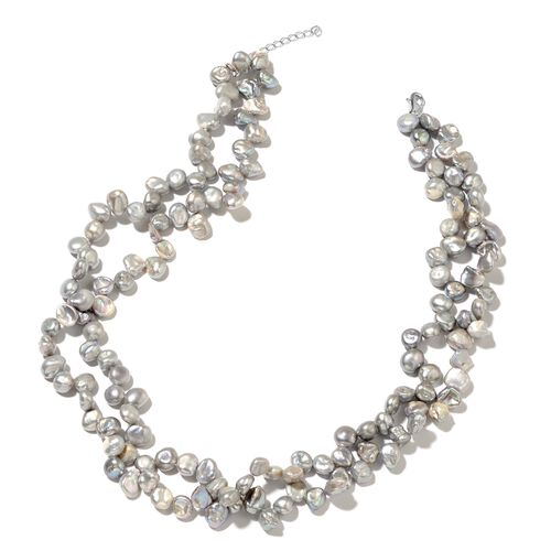 Grey Keshi Pearl Necklace (Size 18 with 1.5 inch Extender) in Rhodium Plated Sterling Silver 307.000 Ct.