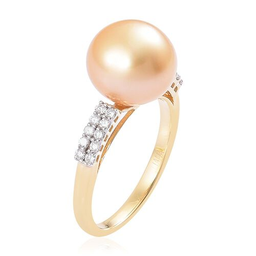 ILIANA 18K Yellow Gold AAA South Sea Golden Pearl (Rnd 10.5-11mm), Diamond (SI/G-H) Ring