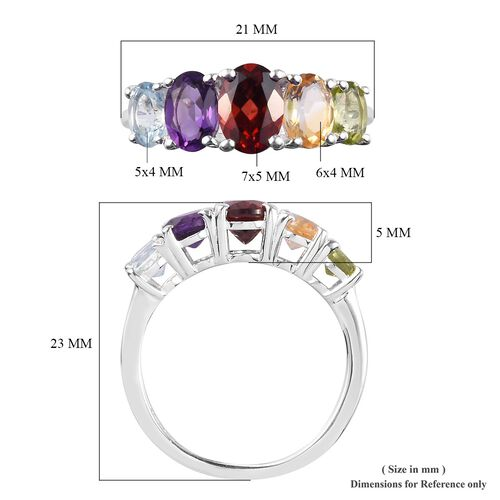 MP Mozambique Garnet, Amethyst and Multi Gemstone Five Stone Ring in Sterling Silver Ring 2.30 Ct.