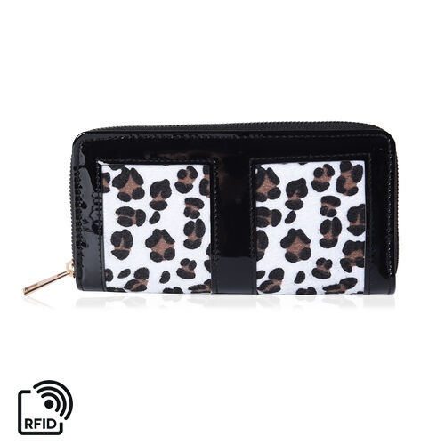 Designer Inspired- Leopard Design RFID  Wallet (Size 19x3x9.5cm)- Black and White