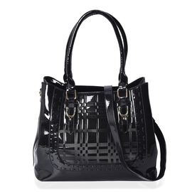 Black Colour Square Embossed Tote Bag with Detachable Shoulder Strap and External Zipper Pocket (Siz