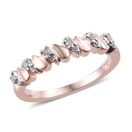 Diamond (Rnd) Ring in Rose Gold Overlay Sterling Silver 0.100 Ct.