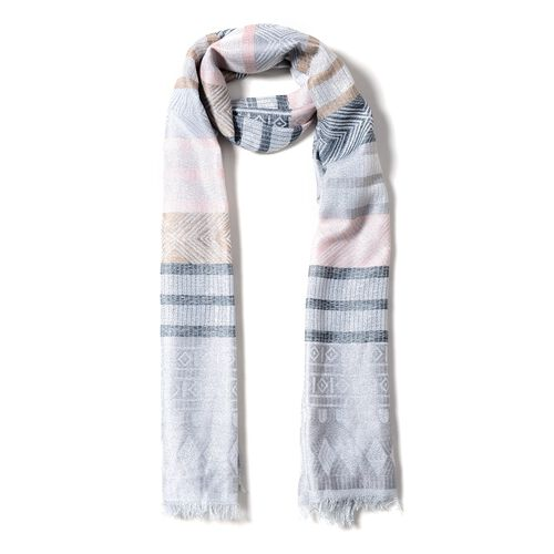 Light Pink, Black and Multi Colour Scarf with Strip and Rhombus Pattern (Size 190x70 Cm)