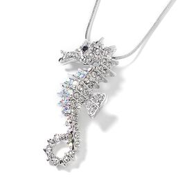 Multicolor Austrian Crystal Sea Horse Pendant with Chain in Silver Tone 28 with 2 inch Extender