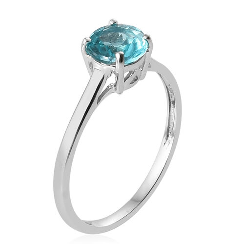 9K White Gold Blue Apatite (Rnd) Solitaire Ring 1.000 Ct.