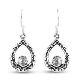 Artisan Crafted Polki Diamond Earrings in Platinum Overlay Sterling Silver 2.00 Ct.