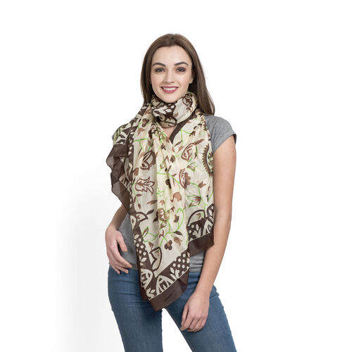 100% Mulberry Silk Chocolate, Green and Multi Colour Floral and Leaves Pattern Scarf (Size 180x100 C